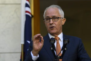 Australian Prime Minister Malcolm Turnbull speaks at a news conference at Parliament House in Canberra on March 27. Photo by AAP/Lukas Coch/via Reuters