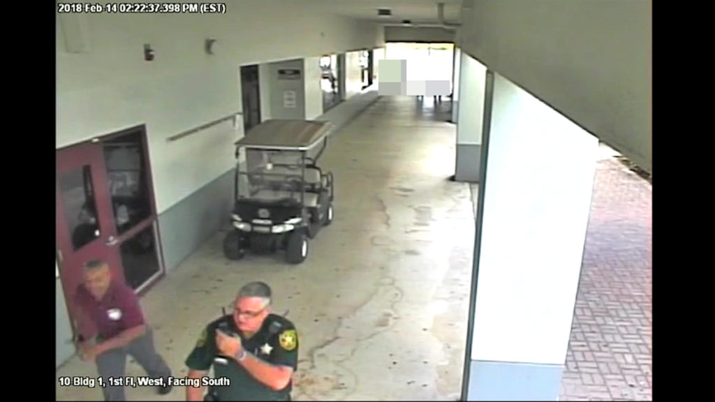 Police released a 27-minute surveillance video depicting the actions during the Valentine's Day shooting at a Parkland, Florida, high school. This is a still pulled from the footage provided by Broward County Sheriff's Office.