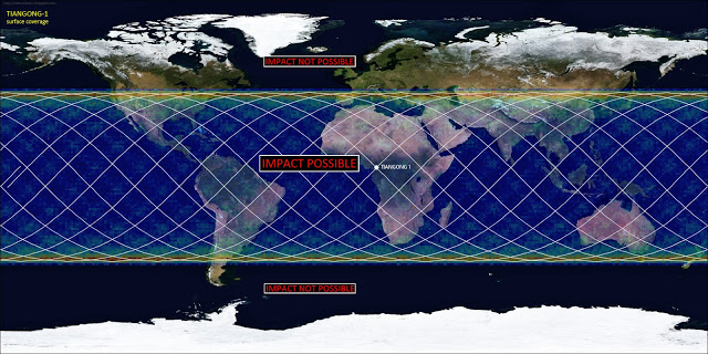 This map show locations where space debris from Tiangong-1 could collide, namely anywhere between latitudes 42.8 North and 42.8 South. Map by Marco Langbroek