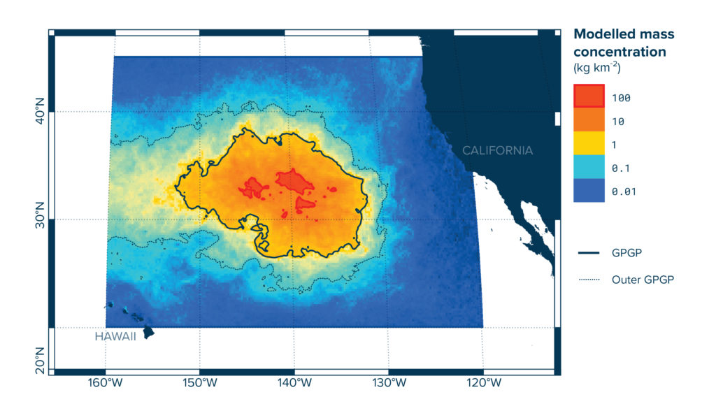 Model of the mass concentration of plastic in the Great Pacific Garbage Patch. Chart by The Ocean Cleanup