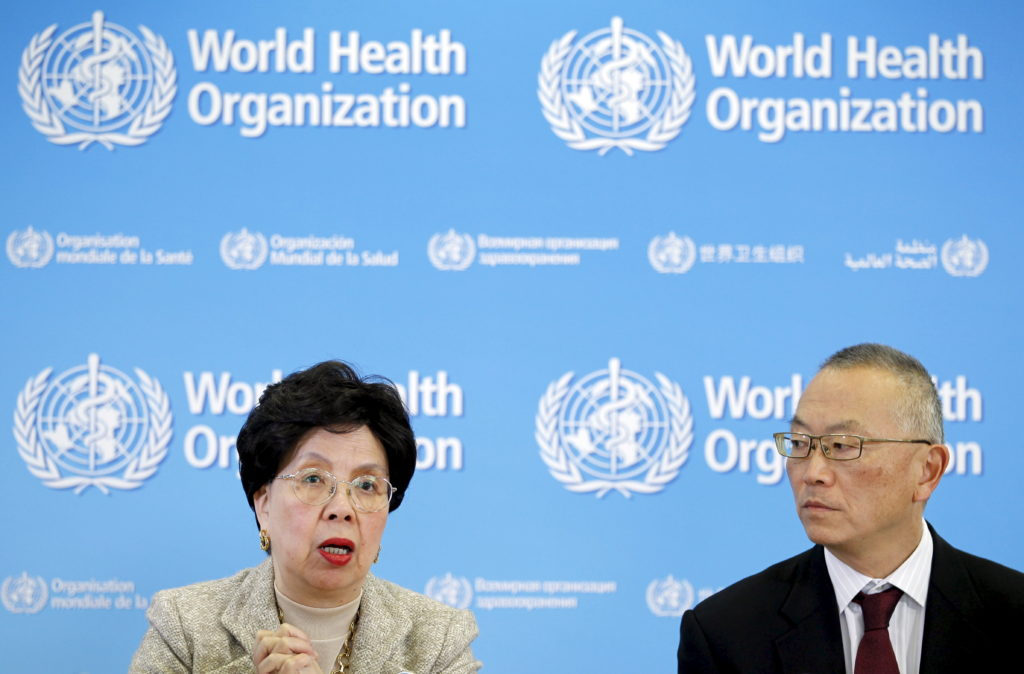 World Health Organization (WHO) director-general Margaret Chan (L) and WHO's assistant director-general for health security Dr. Keiji Fukuda address the media during a news conference on the results of a multi-country survey on antibiotic use and antibiotic resistance, during the launch of a new global campaign, in Geneva, Switzerland, November 16, 2015. REUTERS/Pierre Albouy - GF20000061909