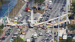 Aerial view shows a pedestrian bridge collapsed at Florida Internat…