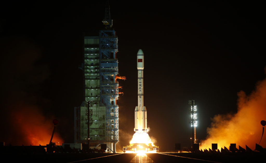 The Long March II-F rocket loaded with China's unmanned space module Tiangong-1 lifts off from the launch pad in the Jiuquan Satellite Launch Center, Gansu province September 29, 2011.    Photo by Petar Kujundzic /REUTERS