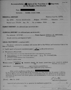 A sample sterilization form for a 15-year-old woman in California. Photo by Sterilization and Social Justice Lab, University of Michigan