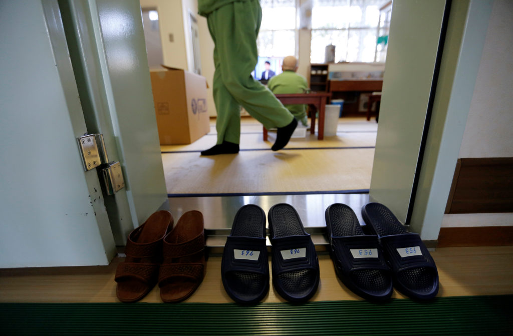 Elderly inmates are seen in a special building set aside for elderly unable to do regular prison factory work, at the Tokushima prison in Tokushima, Japan, March 2, 2018. Picture taken March 2, 2018. REUTERS/Toru Hanai - RC152955E6F0