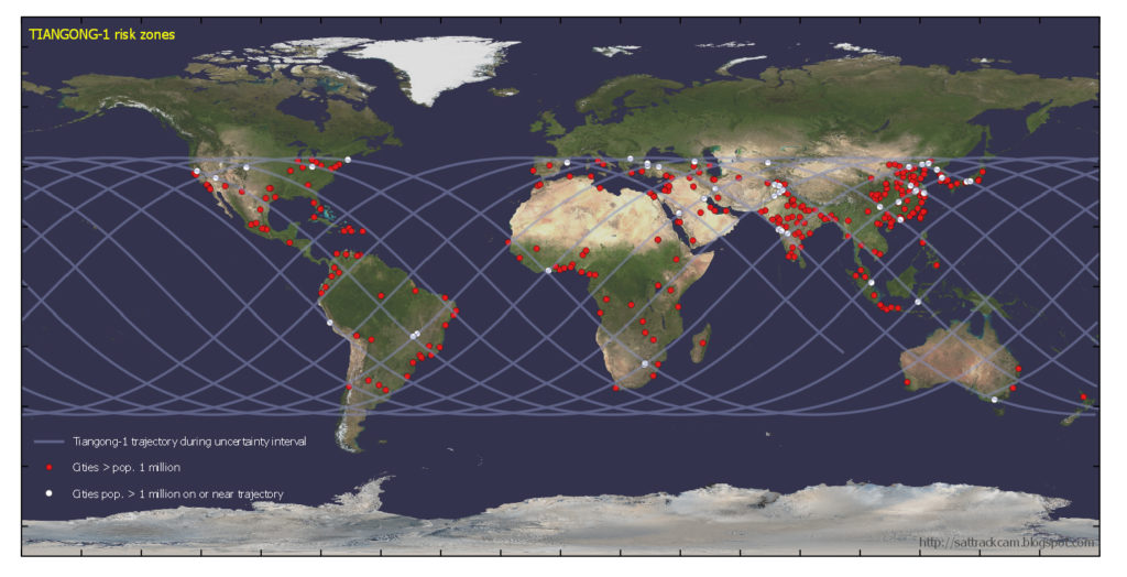 What to do if this chinese space station crashes into your house the lines on this map show where tiangong 1 could come down cities with gumiabroncs Choice Image