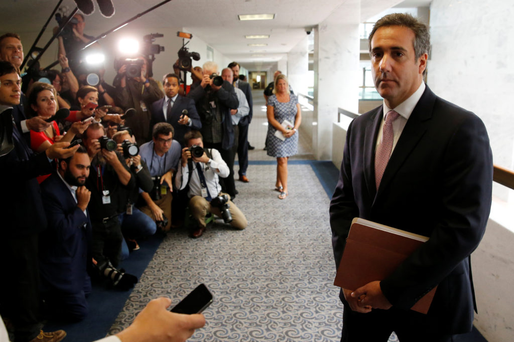 Michael Cohen, personal attorney for President Donald Trump, talks to reporters as he departs after meeting with Senate In...