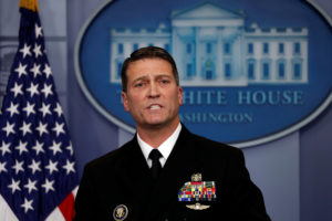 White House presidential physician Ronny Jackson answers questions about President Donald Trump's health in this Jan. 16 file photo. Photo by Carlos Barria/Reuters