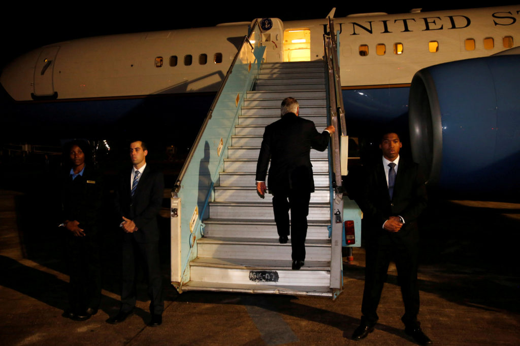 U.S. Secretary of State Rex Tillerson boards his plane to depart at…