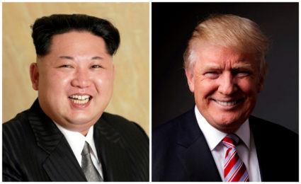 FILE PHOTO - A combination photo shows a Korean Central News Agency (KCNA) handout of Kim Jong Un released on May 10, 2016, and Donald Trump posing for a photo in New York City, U.S., May 17, 2016. REUTERS/KCNA handout via Reuters/File Photo & REUTERS/Lucas Jackson/File Photo ATTENTION EDITORS - THE KCNA IMAGE WAS PROVIDED BY A THIRD PARTY. REUTERS IS UNABLE TO INDEPENDENTLY VERIFY THIS IMAGE. NO THIRD PARTY SALES. NOT FOR USE BY REUTERS THIRD PARTY DISTRIBUTORS. SOUTH KOREA OUT. - RC14634D1120