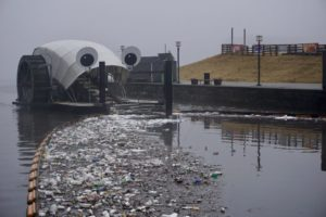 Mr. Trash Wheel collects washed-out trash after a rainstorm. Photo by Healthy Harbor Initiative