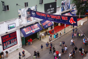 A general view of Yawkey Way outside of Fenway Park before a 2017 game between the New York Yankees and the Boston Red Sox at Fenway Park in Boston, Massachusetts. Photo by Adam Glanzman/Getty Images