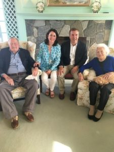 Mary Kate Cary and her husband pose with Barbara Bush. Photo courtesy of Mary Kate Cary.
