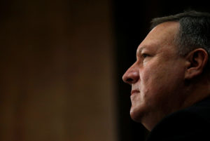 CIA Director Mike Pompeo testifies before a Senate Foreign Relations Committee confirmation hearing on Pompeo's nomination to be secretary of state on Capitol Hill in Washington, D.C. Photo by Leah Millis/Reuters