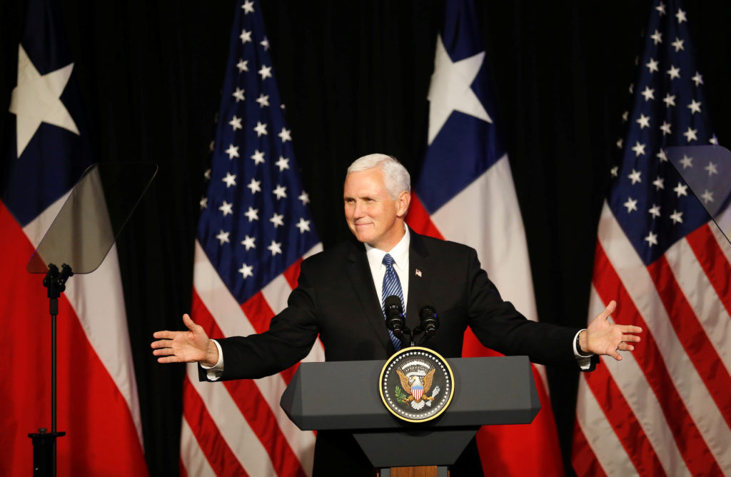 Vice President Mike Pence delivers a speech during a meet with members of the US Chamber of Commerce, the Association of N...