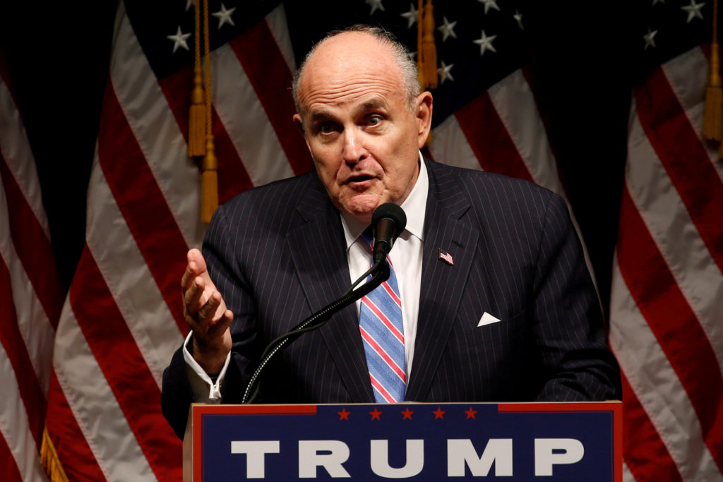 Former New York Mayor Rudy Giuliani delivers remarks before a Donald Trump rally in Council Bluffs, Iowa for the 2016 election. Photo by Jonathan Ernst/Reuters