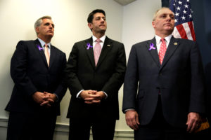 U.S. House Speaker Paul Ryan (R-WI) (C) stands between House Majority Leader Rep. Kevin McCarthy (R-CA) (L) and Majority Whip Rep. Steve Scalise (R-LA) during a news conference following their closed party conference on Capitol Hill in Washington, U.S. May 11, 2016. REUTERS/Yuri Gripas - D1AETDLIWNAA