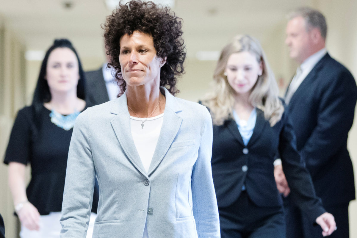 Andrea Constand walks to the courtroom during Bill Cosby's sexual assault trial at the Montgomery County Courthouse in Norristown, Pennsylvania. Photo by Matt Rourke/Reuters