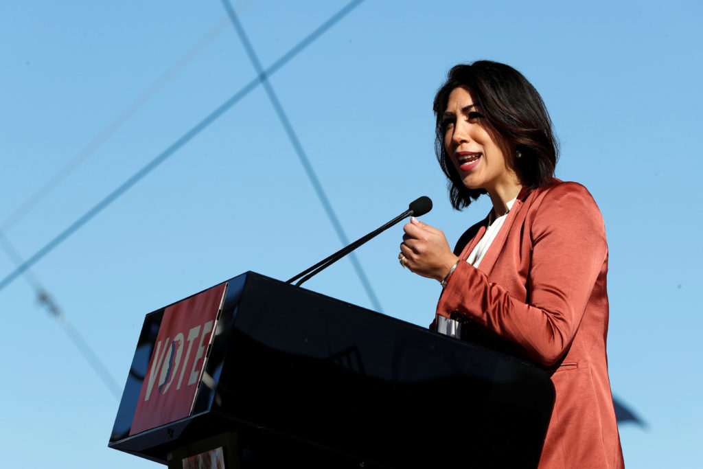 Paulette Jordan, a candidate for Idaho governor, speaks during the Women's March rally in Las Vegas, Nevada, U.S. January 21, 2018. REUTERS/Steve Marcus - RC1976929DE0