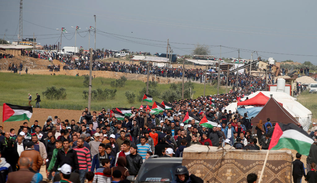 Palestinians attend a tent city protest along the Israel border with Gaza, demanding the right to return to their homeland, east of Gaza City