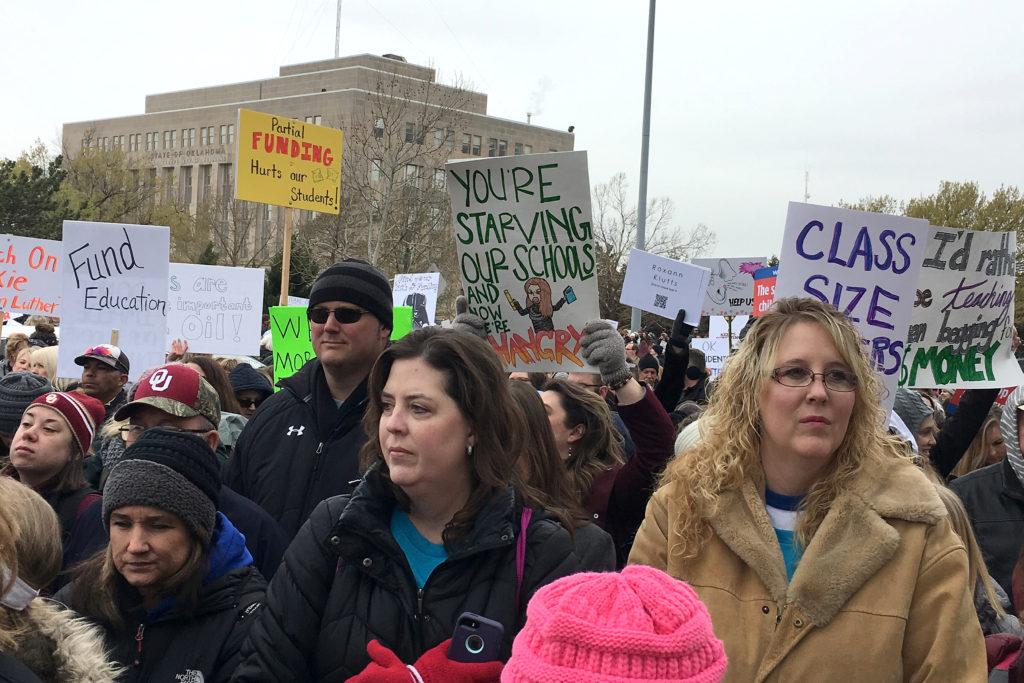 Oklahoma teachers rally outside the state Capitol in Oklahoma City, Oklahoma. Photo by Lenzy Krehbiel-Burton/Reuters