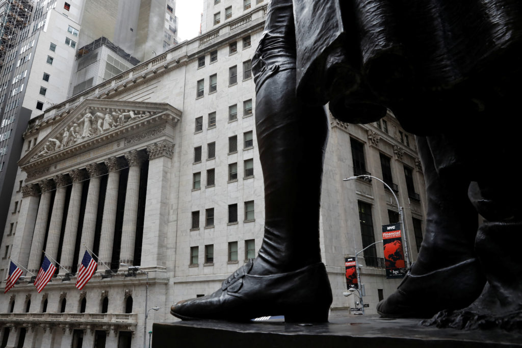 The outside of the New York Stock Exchange (NYSE) is seen in New York, U.S., April 2, 2018. REUTERS/Shannon Stapleton - RC14C6636440