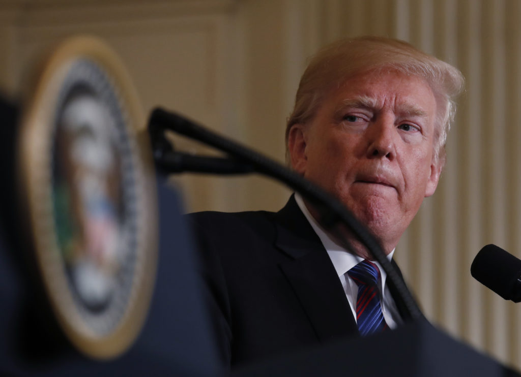 U.S. President Donald Trump at a news conference at the White House in Washington, U.S., April 3, 2018. REUTERS/Kevin Lama...