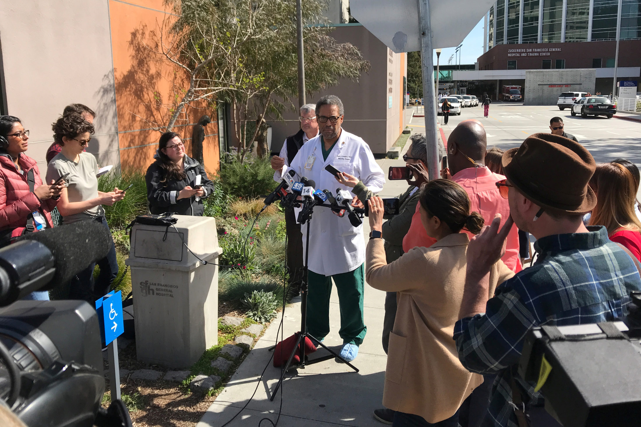 Trauma surgeon Andre Campbell speaks with reporters outside Zuckerberg San Francisco General Hospital and Trauma Center, where three victims were brought following a shooting at YouTube headquarters nearby, in San Francisco, California. Photo by Heather Somerville/Reuters