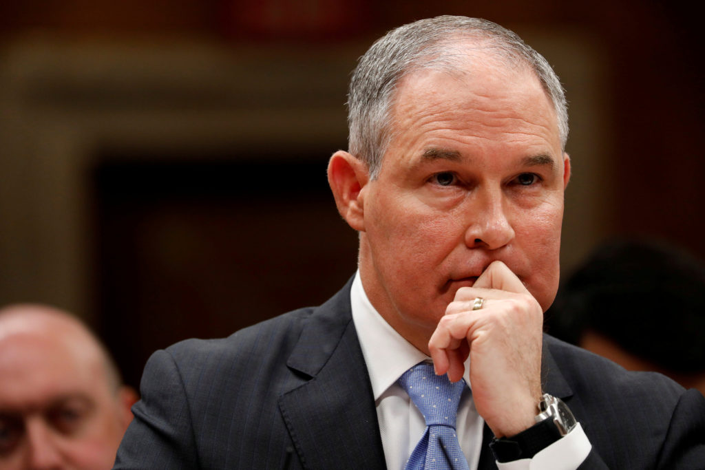 Environmental Protection Agency Administrator (EPA) Scott Pruitt testifies before a Senate Appropriations Subcommittee hearing on Capitol Hill in Washington, U.S., June 27, 2017. Photo By Aaron P. Bernstein/Reuters