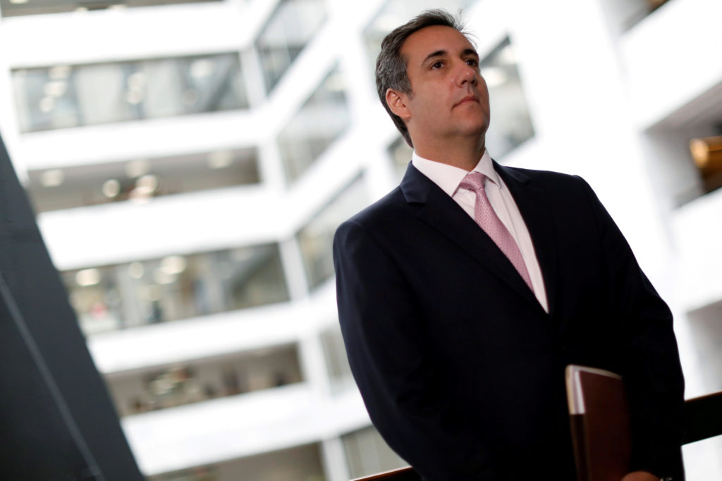 Michael Cohen, President Donald Trump's personal attorney delivers a statement to reporters after meeting with Senate Inte...