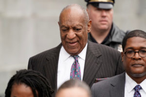 Actor and comedian Bill Cosby departs after the first day of his sexual assault retrial at the Montgomery County Courthouse in Norristown, Pennsylvania, U.S., April 9, 2018. REUTERS/Jessica Kourkounis - RC161D91E040