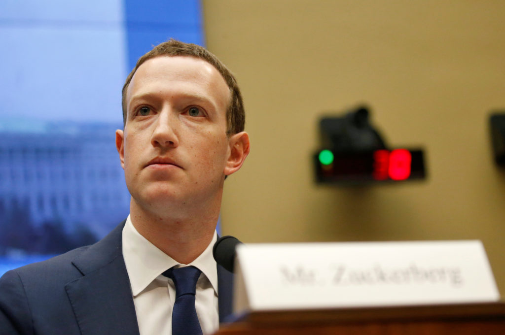Facebook CEO Mark Zuckerberg testifies for a House Energy and Commerce Committee hearing regarding the company's use and protection of user data on Capitol Hill in Washington, U.S., April 11, 2018. REUTERS/Leah Millis - RC14BE7DABD0