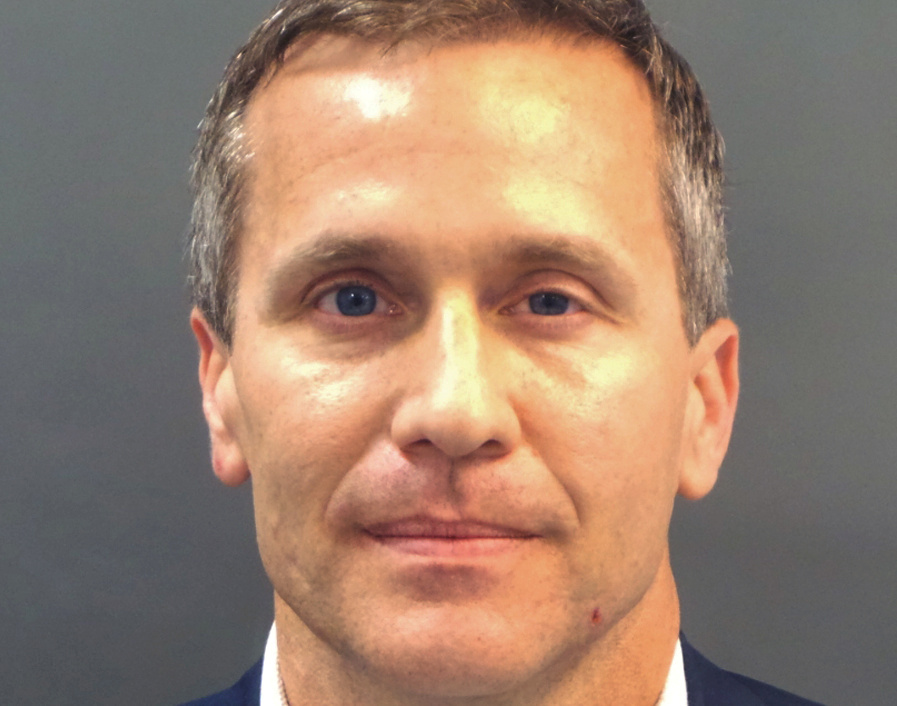Missouri Governor Eric Greitens appears in a police booking photo in St. Louis, Missouri, U.S., February 22, 2018. St. Louis Metropolitan Police Dept./Handout via REUTERS