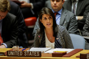 United States Ambassador to the United Nations Nikki Haley speaks during the United Nations Security Council meeting on Syria at the U.N. headquarters in New York, U.S., April 13, 2018. REUTERS/Eduardo Munoz - RC16CF1B7310