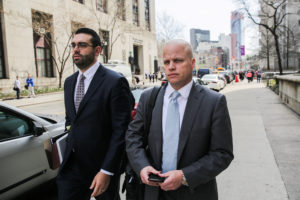 Michael Cohen's Attorneys Todd Harrison (R) and Joseph Evans are pictured outside the Manhattan Federal Court in New York City, New York, U.S., April 13, 2018. REUTERS/Jeenah Moon - RC1E95587780