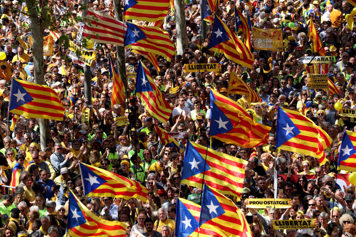 "Pro-independence supporters wave Catalan separatist flags, known as ""Estelada"", as they attend a demonstration in Barcelona"