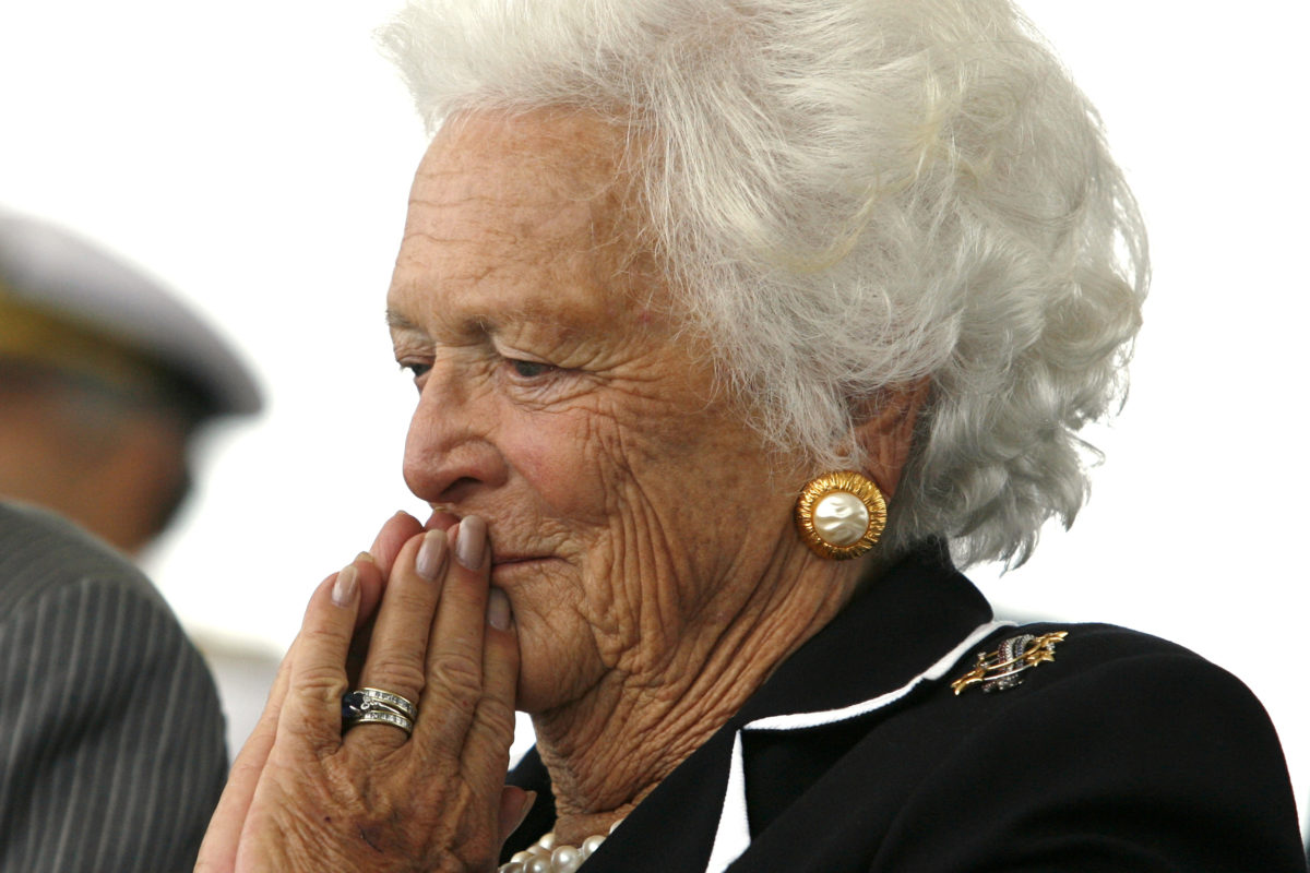 Former first lady Barbara Bush listens to remarks during the 2006 christening ceremony of the USS George H.W. Bush at Northrop-Grumman's shipyard in Newport News, Virginia. Photo by Kevin Lamarque/Reuters