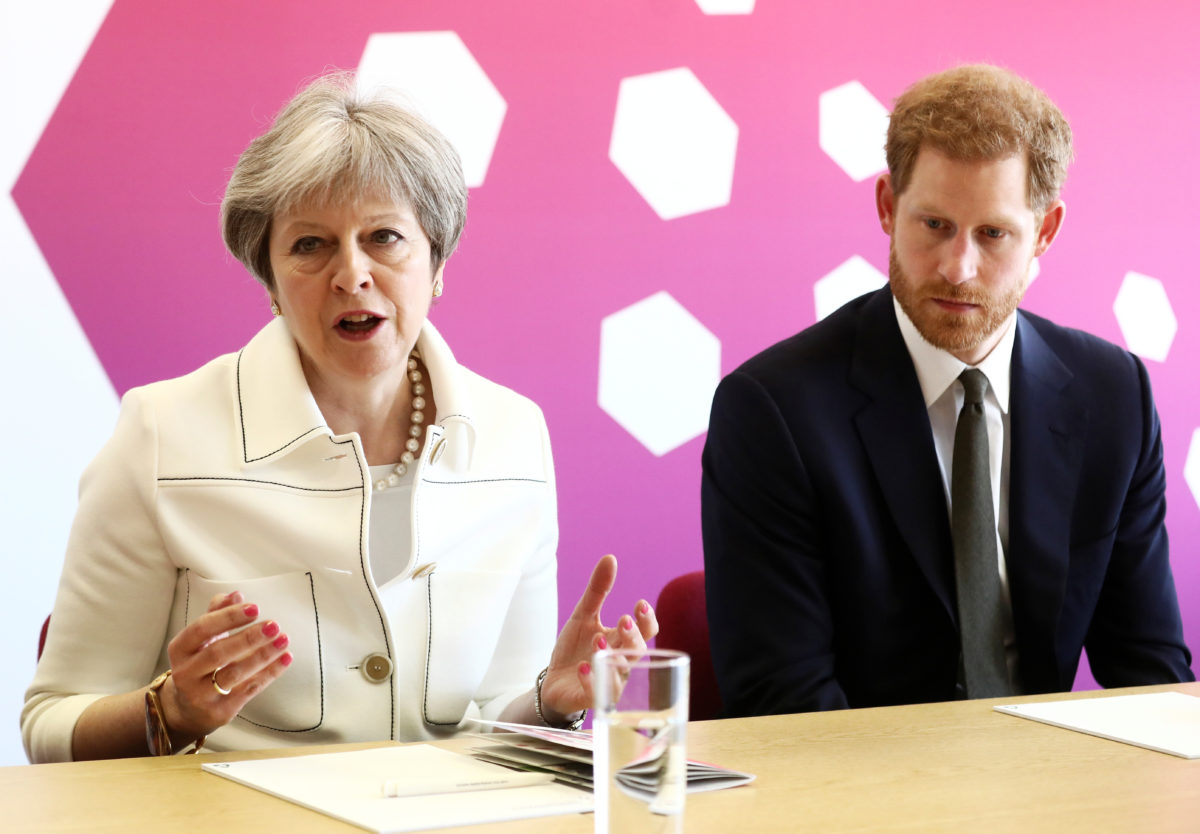 Britain's Prime Minister Theresa May and Prince Harry attend a Commonwealth Heads of Government Meeting Youth Forum in London. Photo by Simon Dawson/Reuters