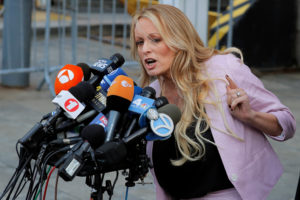 Adult-film actress Stephanie Clifford, also known as Stormy Daniels, speaks as she departs federal court in the Manhattan borough of New York City, New York, U.S., April 16, 2018. REUTERSLucas Jackson - RC1E7F0B4AF0