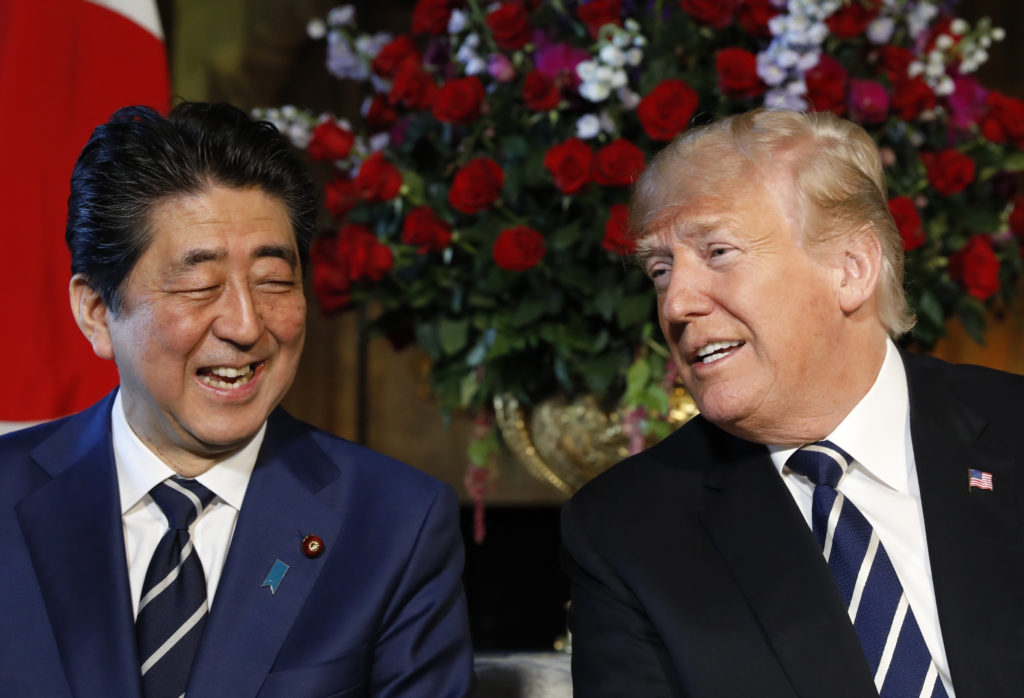 Japan's Prime Minister Shinzo Abe and President Donald Trump meet at the Mar-a-Lago estate in Palm Beach, Florida on April...