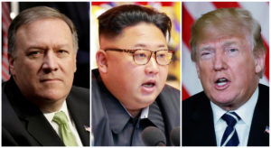 A combination photo shows CIA Director Mike Pompeo (L) in Washington, North Korean leader Kim Jong Un (C) in Pyongyang, North Korea and President Donald Trump (R), in Palm Beach, Florida. Photos by Yuri Gripas (L), KCNA handout via Reuters, and Kevin Lamarque