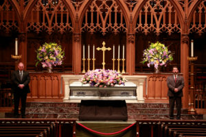 Former first lady Barbara Bush, the wife of the 41st president, George H.W. Bush, and mother of the 43rd, George W. Bush, lies in repose at St. Martin's Episcopal Church in Houston, Texas. Photo by Richard Carson/Reuters