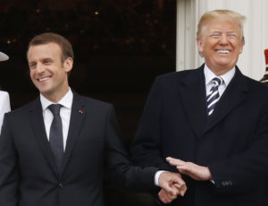 French President Emmanuel Macron (left) and U.S. President Donald Trump at the official arrival ceremony for Macron on the South Lawn of the White House in Washington, D.C., on April 24. Photo by Jonathan Ernst/Reuters