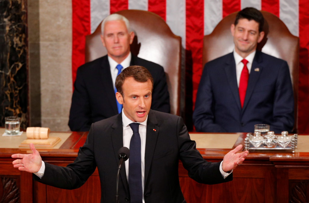 French President Emmanuel Macron addresses a joint meeting of Congress in Washington, D.C., on April 25. Photo by Brian Snyder/Reuters
