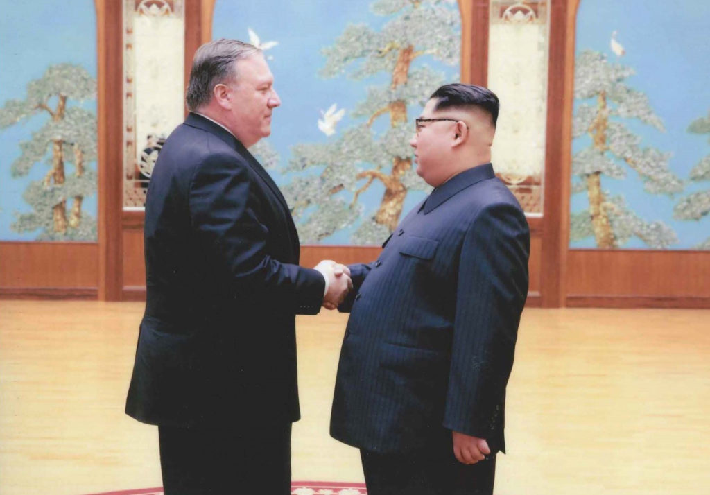 A U.S. government handout photo released by White House Press Secretary Sarah Huckabee Sanders shows then-U.S. Central Intelligence Director Mike Pompeo meeting with North Korean leader Kim Jong Un in Pyongyang, North Korea in a photo that Sanders said was taken over Easter weekend 2018. U.S. government via Reuters