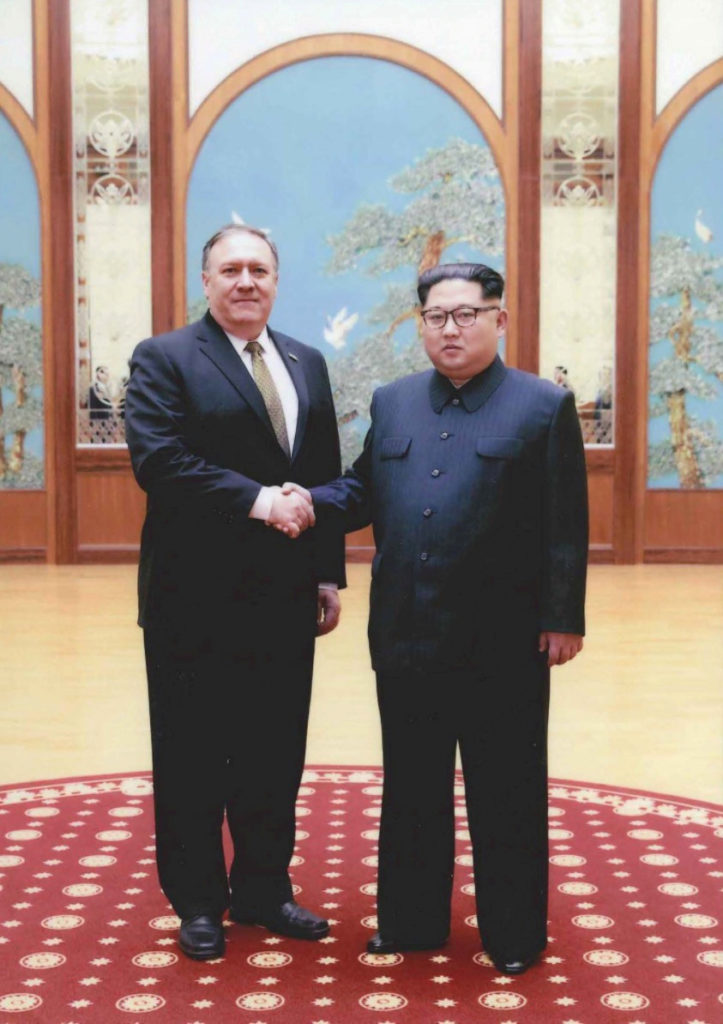 Photo released by the White House shows then-CIA Director Mike Pompeo meeting with North Korean leader Kim Jong Un in Pyongyang, North Korea over Easter weekend 2018. Handout via Reuters