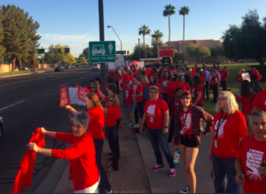 "Arizona teachers in Tempe, Arizona during Wednesday's ""walk-in"" for higher teacher salaries and more education funding. Photo provided by courtesy of Ryan Malham"
