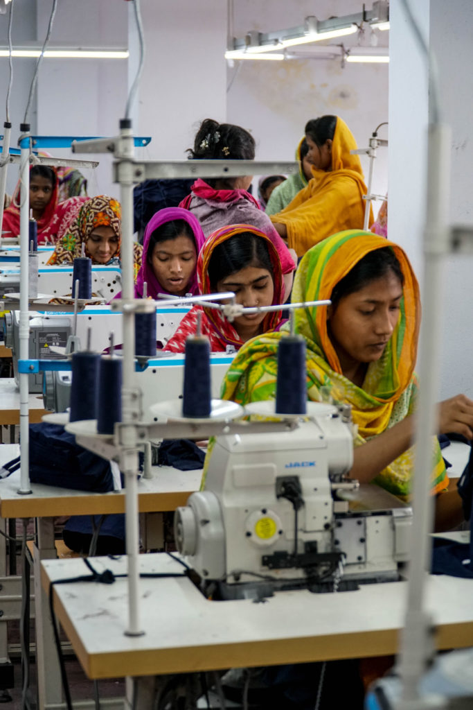 Most garment factory workers are women. Photo of subcontracting factory in Dhaka, Bangladesh, by April Gu/NYU Center for Business and Human Rights