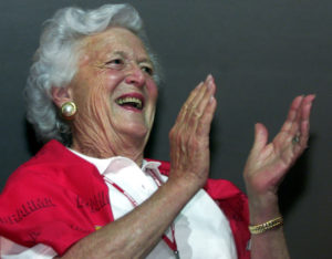 FILE PHOTO: Barbara Bush, the mother of U.S. President George W. Bush, watches the Carnival parade from a VIP room at the Sambadrome stadium, in Rio de Janeiro, Brazil, February 10, 2002. REUTERS/Jamil Bittar/File Photo.