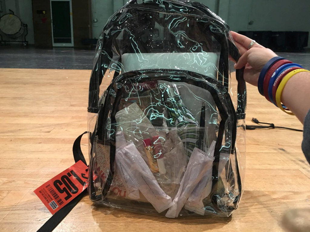 A clear backpack is seen in Parkland, Florida, U.S., April 2, 2018, in this picture obtained from social media. Picture taken April 2, 2018. TWITTER/DELANEY TARR/via REUTERS    THIS IMAGE HAS BEEN SUPPLIED BY A THIRD PARTY. MANDATORY CREDIT. MUST ON SCREEN COURTESY DELANEY TARR.